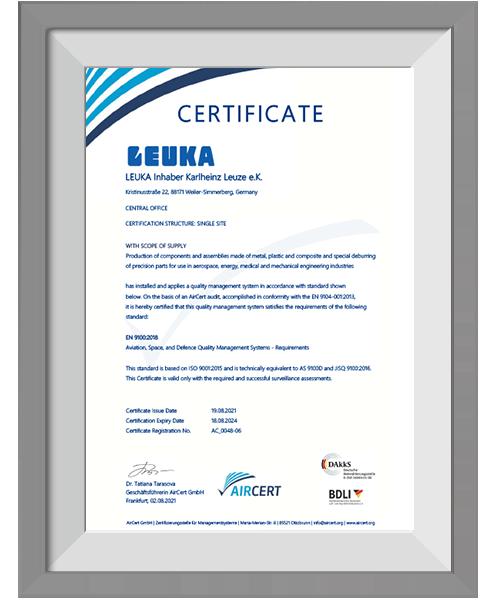 LEUKA Zertifikat EN9100 eng 2021